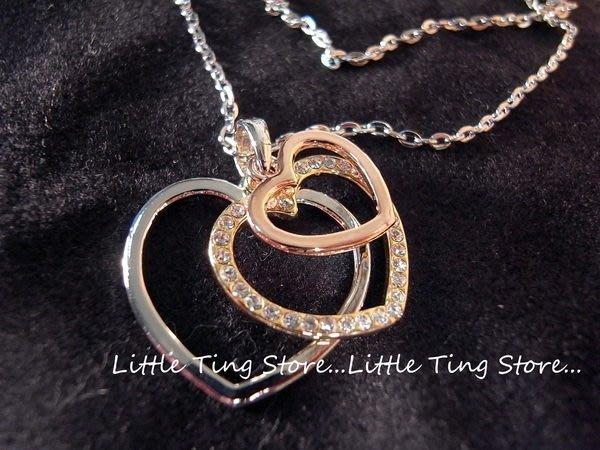 Little Ting Store: 簍空3個重疊愛心造型鑽水晶鑽飾品短項鍊鎖骨鍊頸鍊