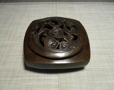 銅香爐  中型古典黄銅香爐  乾隆雲水如意吉祥爐   薰香焚香爐  古玩古董  擺設擺件