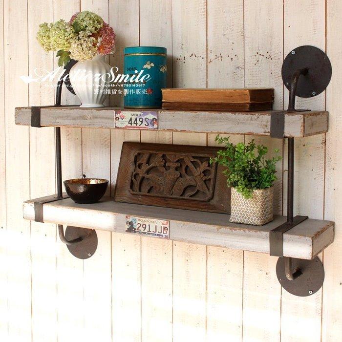 [ Atelier Smile ] 鄉村雜貨 工業風 復古作舊 鐵+木製 超厚實層架 展示架 LOFT 大型 雙層 免運