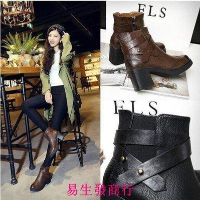 【易生發商行】韓國 側拉鏈筒靴子馬丁靴...