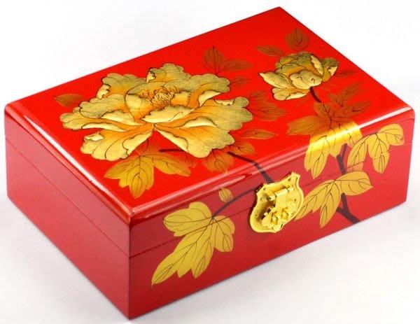 5Cgo【鴿樓】會員有優惠 35760740958 平遙漆器首飾盒 復古梳妝盒化妝盒 木質金牡丹21cm飾品盒 收納盒