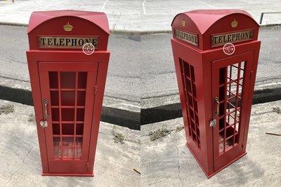 ( 台中 可愛小舖 )歐式復古風鐵製紅色電話亭造型架置物架美式餐廳咖啡店服飾店