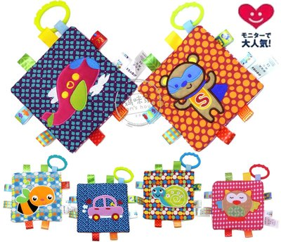 媽咪家【N032】N32多功能方巾 新生兒 彩色 標籤 車掛 床掛 響紙 BB器 抓握布 玩具 安撫巾~刺激視聽覺/觸感