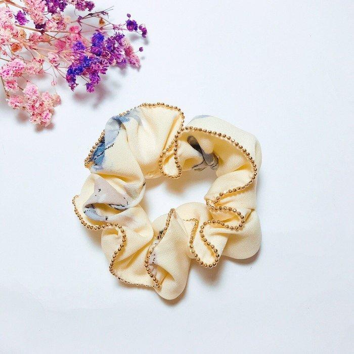 《現貨》韓國❤️質感 花朵 金珠 滾邊 mini 大腸圈 髮束 髮飾【Verina's韓系美飾】