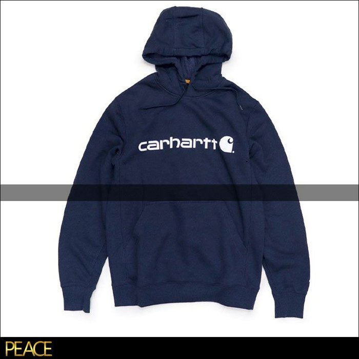 【PEACE】美國進口 Carhartt_103873 刷毛 帽T 連帽 T恤 磅數高 材質厚 深藍色