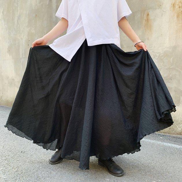 FINDSENSE 2019 秋季上新 G19  黑色山本風雙層長裙設計款大裙擺寬鬆裙褲男裝百搭寬鬆休閒褲子