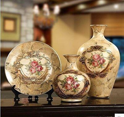 【優上精品】家居飾品 歐式擺件三件套 復古裝飾品擺設客廳 奢華陶瓷工藝品(Z-P3249)