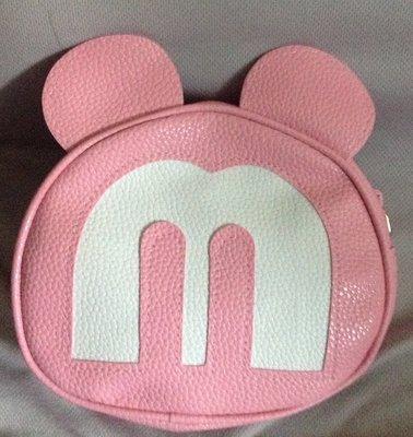 全新粉紅米奇頭斜背包側背包