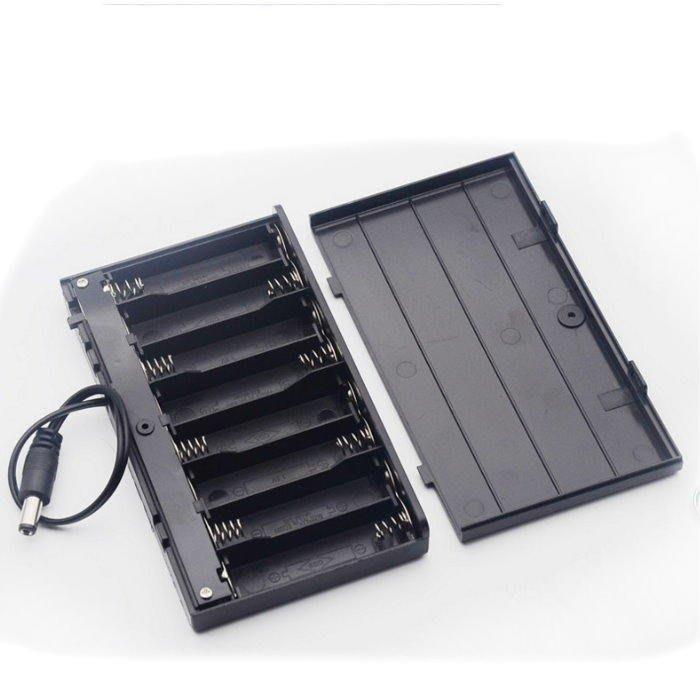 帶蓋帶開關電池盒3號8節串聯 電池盒 12V DC插頭 行動電源【DY327】☆EZ生活館☆