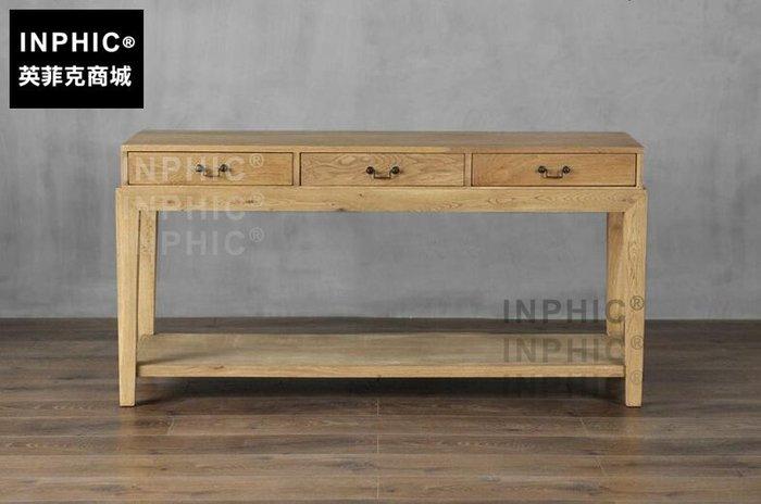 INPHIC-北歐套几組合 法美式鄉村簡約客廳沙發邊櫃玄關三抽靠牆桌-C款_S1910C