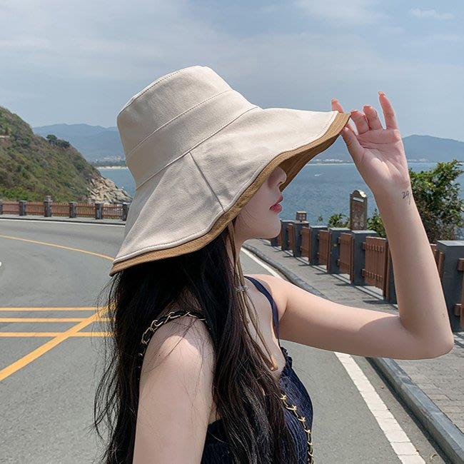 【FAT CAT HOUSE胖貓屋】日系大簷包邊漁夫帽 盆帽 日系雙面防曬太陽帽 防紫外線遮臉遮陽帽 品質保證