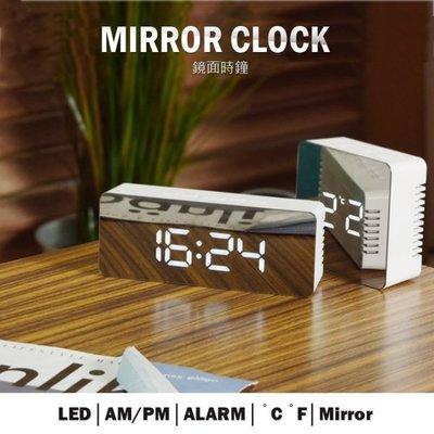 高質感 時尚 鏡面LED電子鐘 鬧鐘 鏡子 貪睡 電子時鐘 時間 溫度4號電池/USB供電/居家/辦公(USB供電)