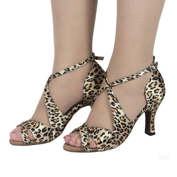 5Cgo【鴿樓】會員有優惠 15380993336  拉丁舞鞋女式成人豹紋舞蹈鞋交誼舞廣場舞鞋中跟魚嘴涼鞋