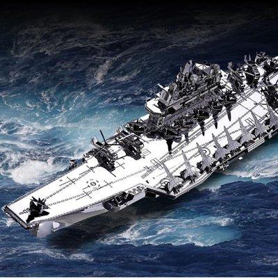 3D立體金屬拼圖遼寧號航空母艦拼裝模型玩具軍事DIY創意擺件手工
