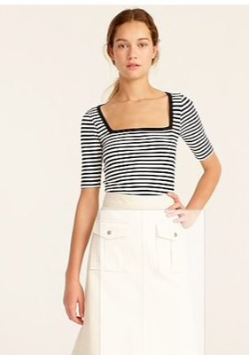J. Crew Perfect-fit elbow-sleeve squareneck T-shirt in  9/6止