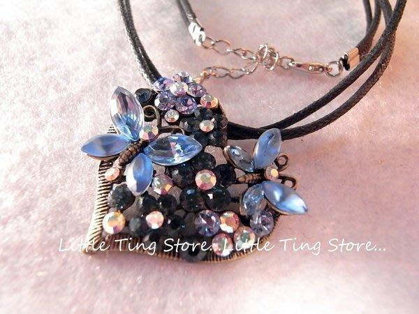 時尚個性 蝴蝶寶藍鑽愛心墜鏈水鑽墜飾繞頸鍊短項鍊水晶鑽V型頸鍊鎖骨鏈 短項鍊