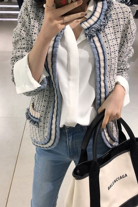 Modem Girl♥100%實拍 [現實特價] 正韓 好質感 優雅呢毛小香撞色外套 2色