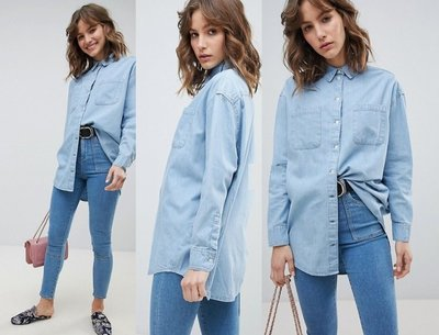 ◎美國代買◎ASOS雙大口袋裝飾襯衫剪裁英倫時尚街風大口袋裝飾牛仔襯衫上衣~歐美街風~大尺寸