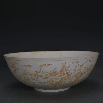 ㊣姥姥的寶藏㊣ 大明永樂甜白瓷雙龍紋大號薄胎碗  官窯出土古瓷器古玩古董收藏品