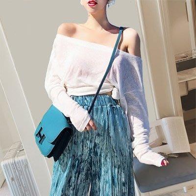 平口 上衣 正韓性感一字領白色露肩t恤女長袖春夏季新款韓版超火寬松體恤上衣6-18