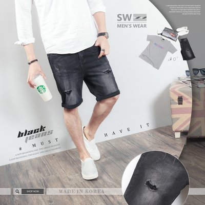 。SW。【K91703】正韓BL 抽鬚破壞 超彈力 彈性單寧 觸感舒適 黑 褲頭有彈性 牛仔短褲 英倫 GD