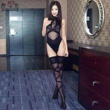 掛脖開檔連體襪成人情趣內衣透明  初服