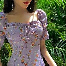 雪紡洋裝法式雪紡碎花洋裝短裙女夏季新款復古收腰修身顯瘦氣質裙子 [免運✿貝貝海灘]