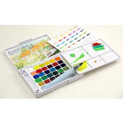 現貨 18色24色30色透明固體水彩套裝 寫生水彩顏料/水彩餅/調色盤 (PVC包裝)