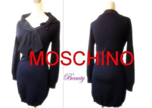 *Beauty*MOSCHINO蝴蝶結深藍長袖針織洋裝 I38號