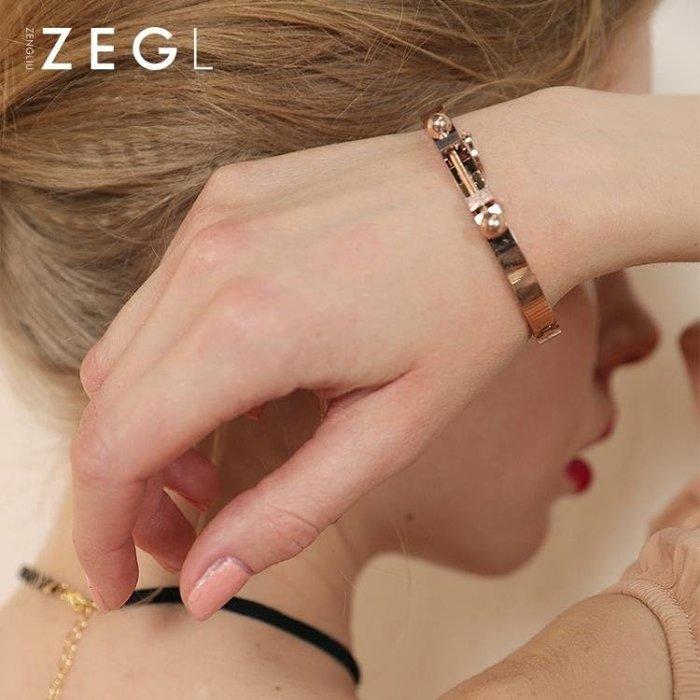韓情侶手鐲 女鍍18k玫瑰金手環簡約個性潮人首飾品
