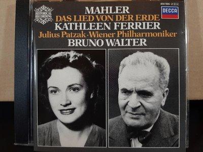 Walter,Ferrier,Patzak,Wiener Phi,Das Lied Von Der Erde華爾特指揮,費麗兒/帕扎克演唱,演繹:馬勒-大地之歌