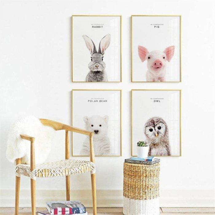 ins北歐風格兔子小豬熊貓等12種動物裝飾畫畫芯高清微噴打印畫心(不含框)