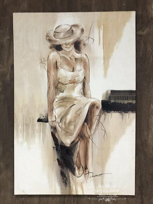 ~*~歐室精品傢飾館~*~鄉村風格 手工 繪製 工筆 油畫 戴帽 摩登 女子 無框畫 掛畫 掛圖 壁飾~新款上市~