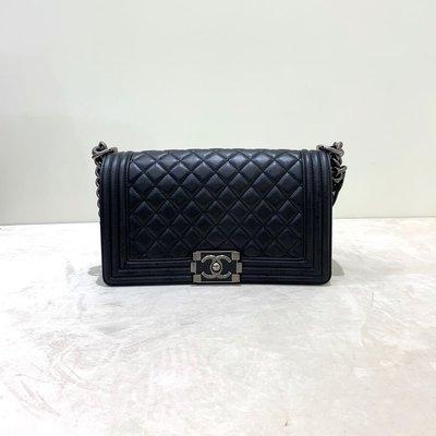Chanel Boy 25 菱格紋 牛皮 復古銀釦 黑色《精品女王全新&二手》