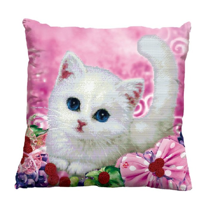 3D十字繡畫抱枕可愛貓咪枕頭十字繡動物szx卡通小貓簡單新款系列
