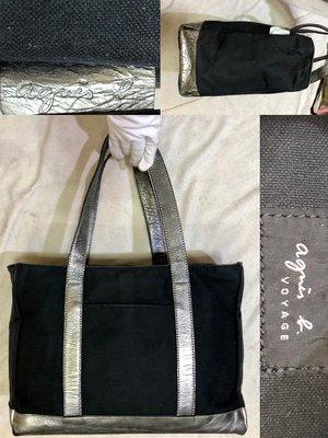 低價起標~日本製 Agnes b品牌 牛皮手提包 帆布大包 輕巧托特包 時尚公事包 celine參考 MK參考
