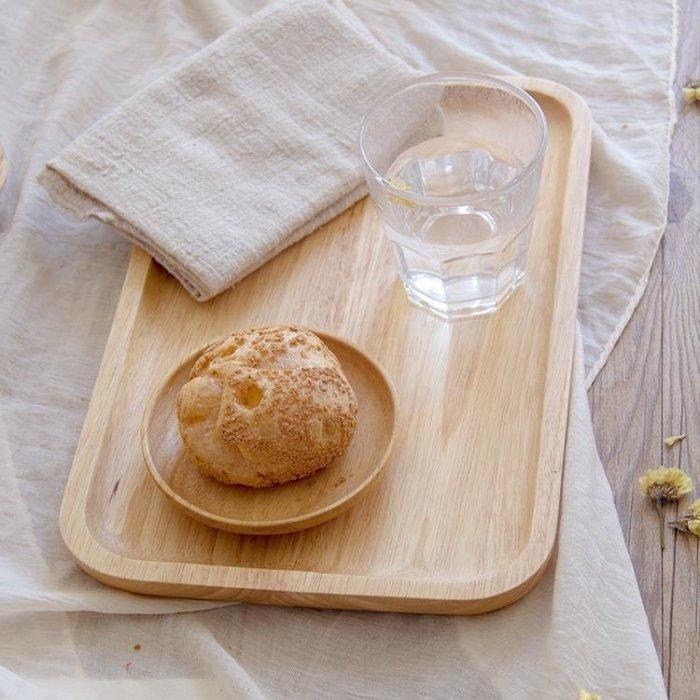 『哲原雜貨』橡膠木盤子長方形日式餐盤家用茶盤托盤披薩實木托盤木質水杯盤托/CK7999