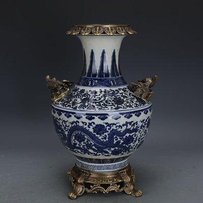 ㊣姥姥的寶藏㊣ 大清乾隆回流瓷鑲銅青花龍紋尊瓶  官窯古瓷器手工瓷古玩古董收藏