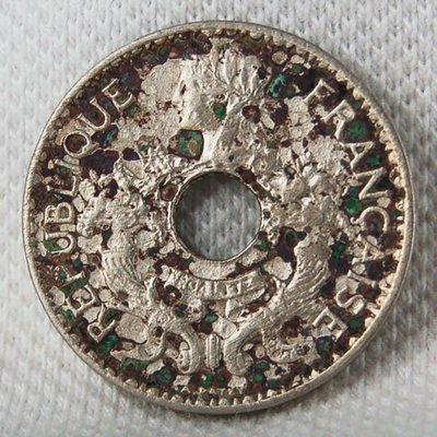 法屬安南 (FRENCH INDO-CHINA) 1924年 5 CENTS 鎳幣 XF (大型 1.6mm 厚度) 【A3531】