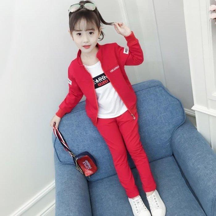 999童裝 女童秋裝新款時髦女大童洋氣套裝女孩童裝春秋兒童運動三件套01KK12