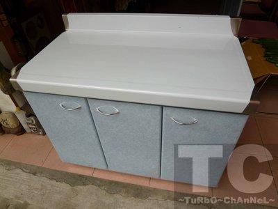 流理台【100公分工作平台-左對開】台面&櫃體不鏽鋼 淺藍線條紋門板 最新款流理臺