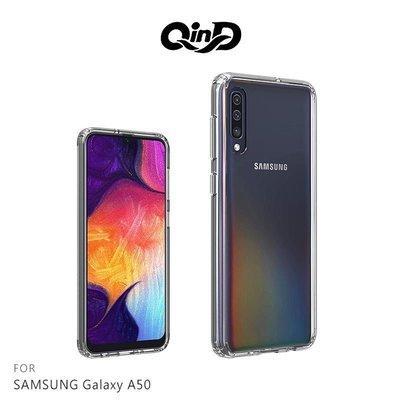 QinD SAMSUNG Galaxy A50 雙料保護套 手機殼 保護套 耐衝擊 透明背蓋【台南MIKO米可手機館】