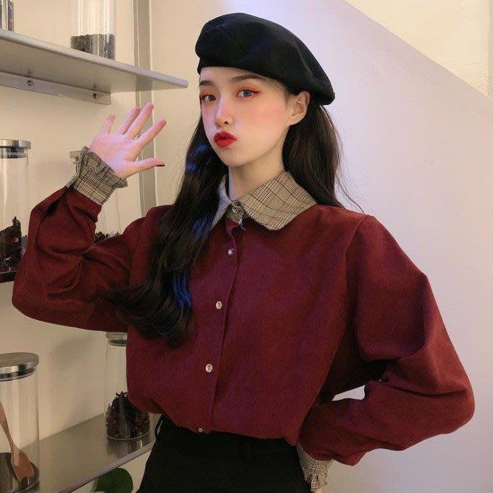 小香風 短袖T恤 時尚穿搭 復古法式小眾拼色POLO領寬松短款網紅長袖襯衫外套女