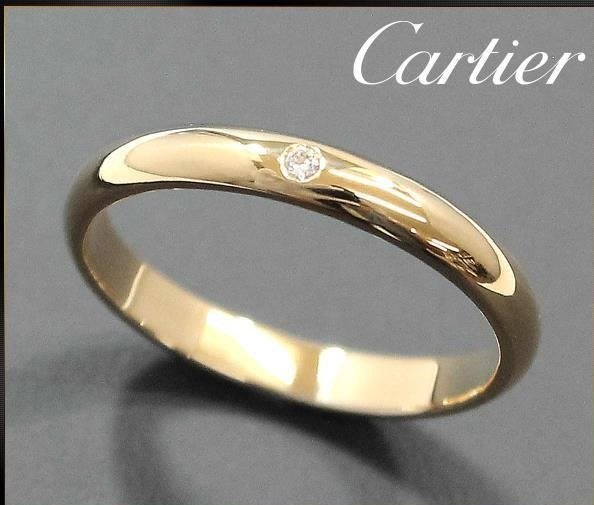 *保證真貨~知名品牌Cartier卡地亞-1895經典款單顆鑽 18K黃金鑽戒(750) 歐洲圍49號 ~超低價起標