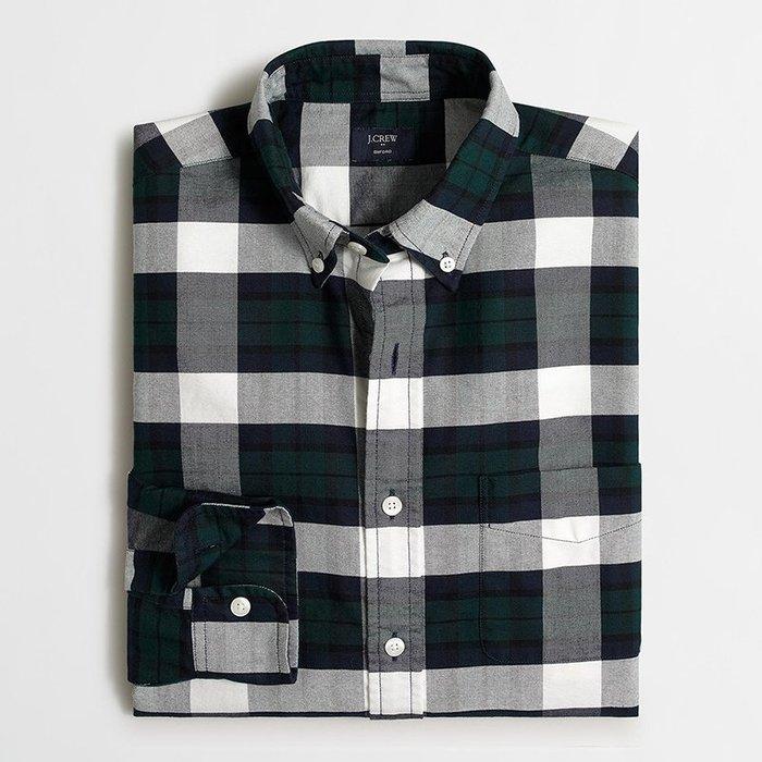 美國百分百【全新真品】J-Crew 襯衫 JC 長袖 上衣 格紋 雅痞 上班 休閒 深綠 深藍灰白 XXS號 G854