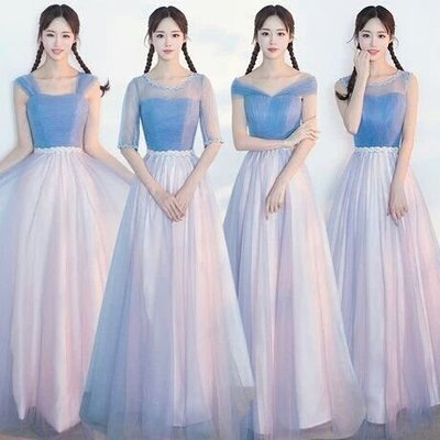 天使佳人婚紗禮服~~~~~~~ 藍粉色長版禮服伴娘禮服