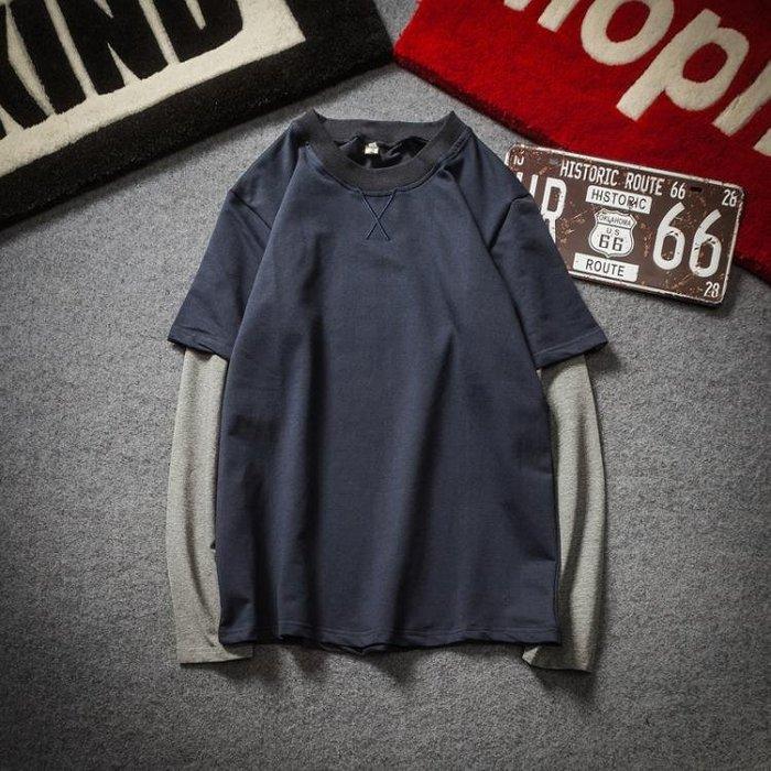 秋冬假兩件長袖T恤男士T恤 加肥大尺碼胖子潮男寬鬆衣服韓版