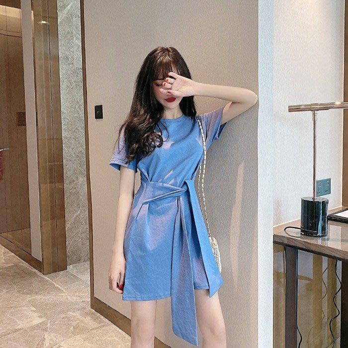 短袖洋裝 夏天裙子心機氣質收腰顯瘦a字洋裝夏裝新款小個子- 粉色世家