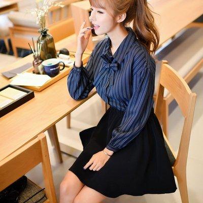 長袖洋裝 蝴蝶結條紋拼接長袖洋裝 連身裙(預)