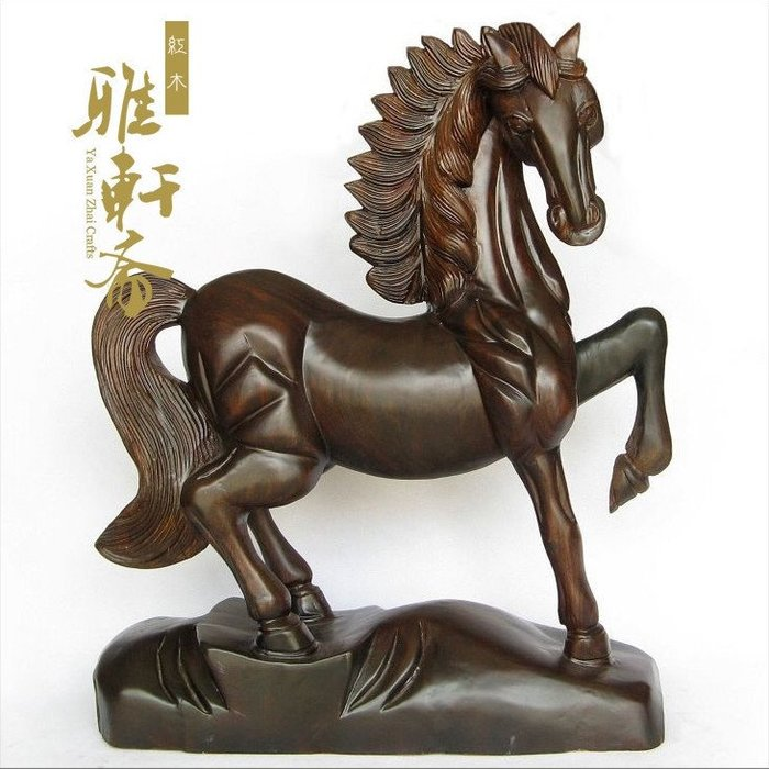 V木雕馬 木雕風水擺件 紅木工藝品 大號50 紅木馬到成功